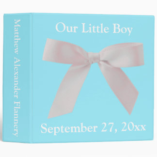 Blue and White Ribbon Bow Personalized Baby Binders