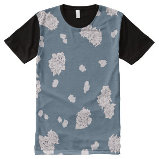 Blue and White Roses All-Over-Print T-Shirt