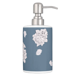 Blue and White Roses Bathroom Set