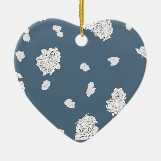 Blue and White Roses Ceramic Ornament