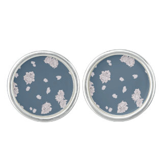 Blue and White Roses Cuff Links
