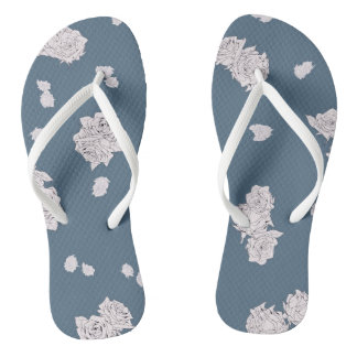 Blue and White Roses Flip Flops