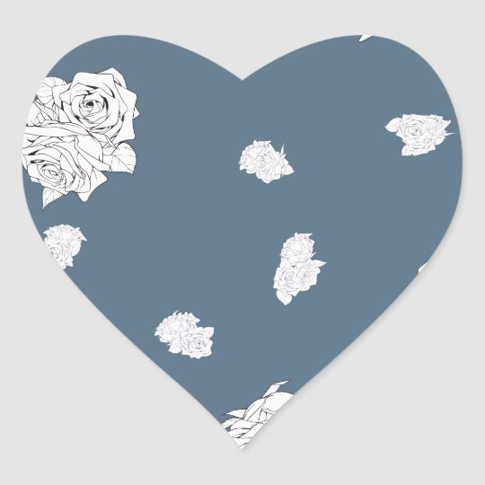 Blue and White Roses Heart Sticker