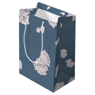 Blue and White Roses Medium Gift Bag