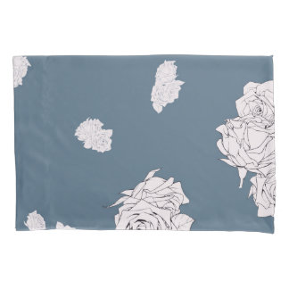 Blue and White Roses Pillowcase