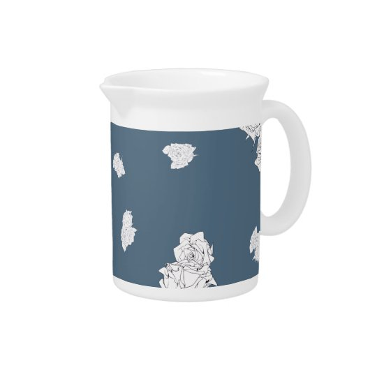 Blue and White Roses Pitcher
