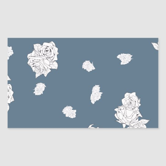 Blue and White Roses Sticker