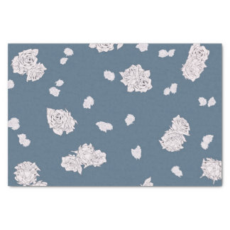 Blue and White Roses Tissue Paper