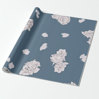 Blue and White Roses Wrapping Paper