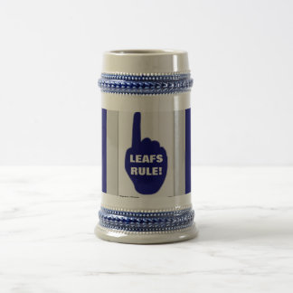 BLUE AND WHITE RULE BEER STEIN