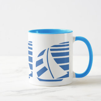 Blue and White Sailboat Coffee Mug