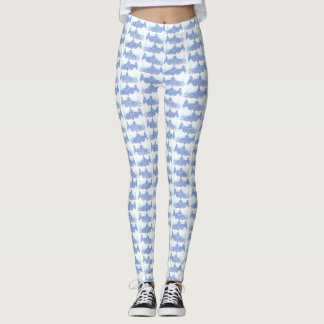 Blue and White Salmon Patterned Leggings