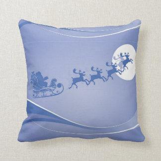 Blue And White Santa And His Sligh Christmas Theme Throw Pillow