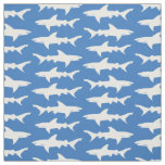 Blue and White School of Sharks Pattern Fabric