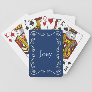 Blue and White Scrollwork Customizable Deck of Poker Deck
