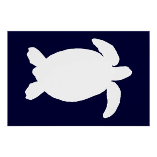 Blue and White Sea Turtle Perfect Poster