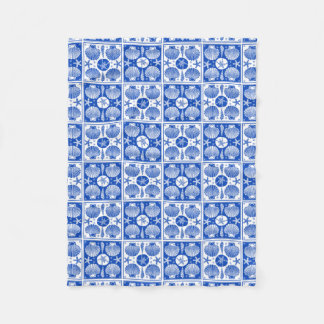 Blue and White Seashell Beach Block Pattern Fleece Blanket