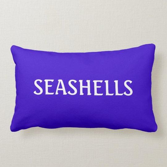 Blue and White SEASHELL Word Ocean Beach Theme Lumbar Pillow