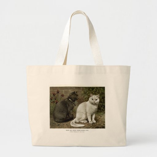 Blue and White Short Haired Cats Artwork Canvas Bag