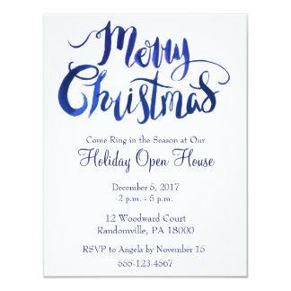 Blue and White Simple Christmas Party Invite