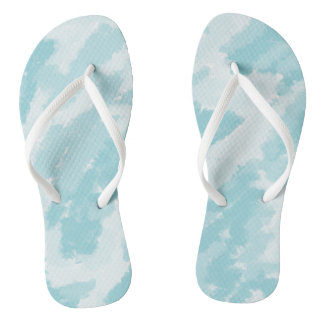 Blue and White Sky Pattern Flip Flops