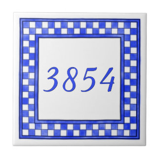 Blue and White Small House Number Tile