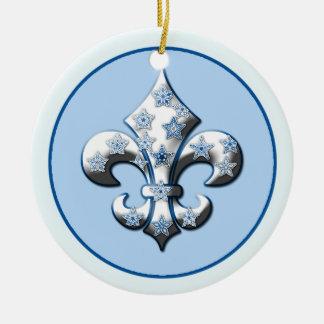 Blue and White Snowflake Fleur de Lis Ornament