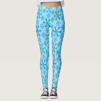 Blue and White Snowflake Hexagon Pattern Leggings
