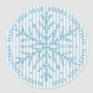 Blue and White Snowflake Merry Christmas Sticker