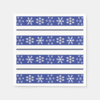 Blue and White Snowflake Napkins Disposable Napkins