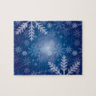 Blue and White Snowflake Winter Print Jigsaw Puzzle