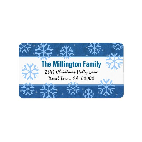 Blue and White  Snowflakes and Vintage Holly Label