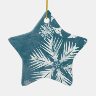 Blue and White Snowflakes Christmas Ceramic Ornament