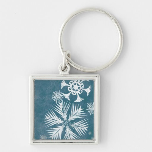 Blue and White Snowflakes Christmas Key Chains