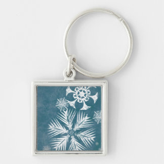 Blue and White Snowflakes Christmas Silver-Colored Square Keychain