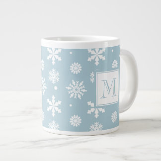 Blue and White Snowflakes Pattern 1 with Monogram Large Coffee Mug