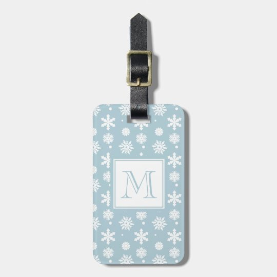 Blue and White Snowflakes Pattern 1 with Monogram Luggage Tag