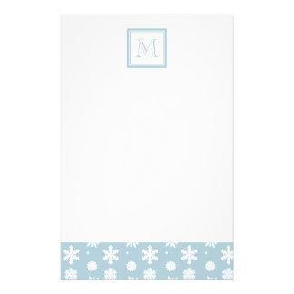 Blue and White Snowflakes Pattern 1 with Monogram Stationery Design