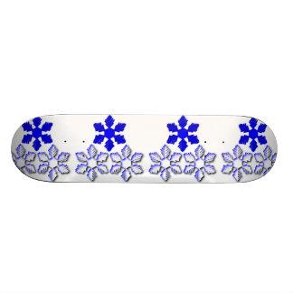 Blue and White Snowflakes Skateboard