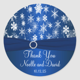 Blue and White Snowflakes Wedding Sticker