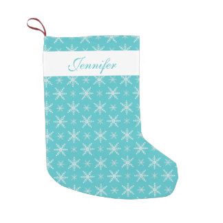Blue And White Snowflakes With Custom Name Small Christmas Stocking
