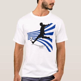 Blue and White Soccer Player T-Shirt