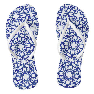 Blue and White Spanish Mediterranean Pattern Flip Flops
