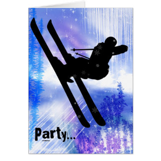 Blue and White Splashes with Ski Jump Card