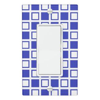 Blue and White Squares Light Switch Cover
