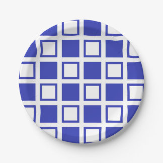 Blue and White Squares Paper Plate