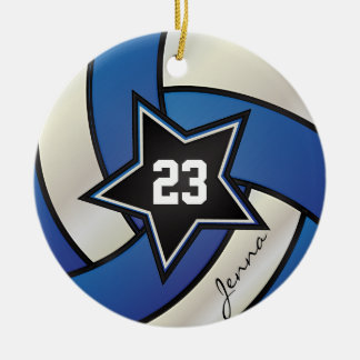 Blue and White Star Volleyball | DIY Name & Number Ceramic Ornament