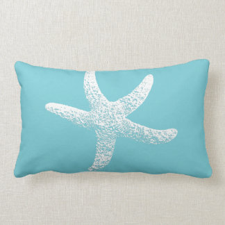 Blue and White Starfish Accent Pillow