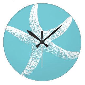 Blue and White Starfish Clock