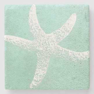 Blue and White Starfish Coaster